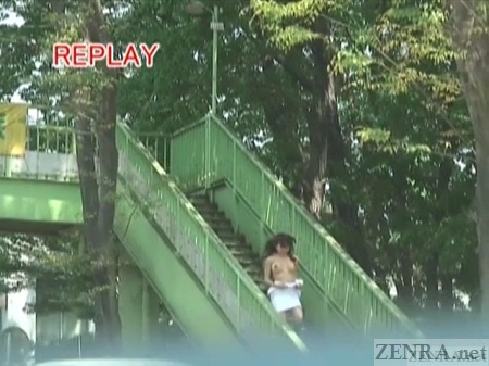 Topless Japanese public nudity on overpass