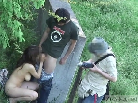 Japanese forest blowjob caught on camera