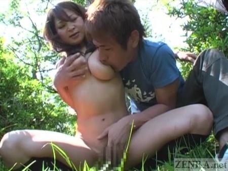 CMNF Japanese fingering in forest
