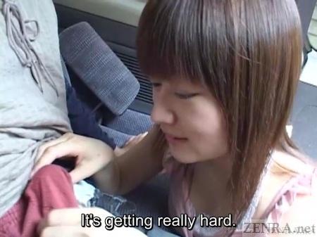 Japanese car handjob by lewd wife