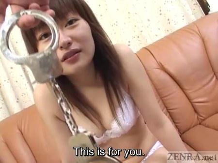 Handcuffs meet Japanese wife