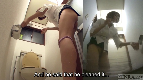Japanese teacher with short hair cleans toilet