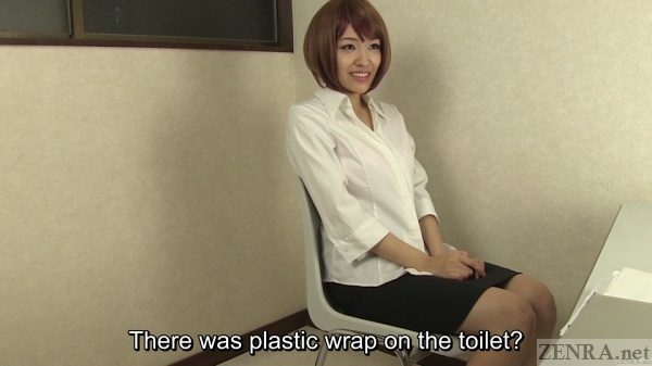 Plastic wrap toilet prank on Japanese woman