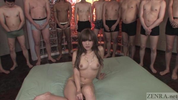 Hikari Tsukino naked surrounded by men in underwear