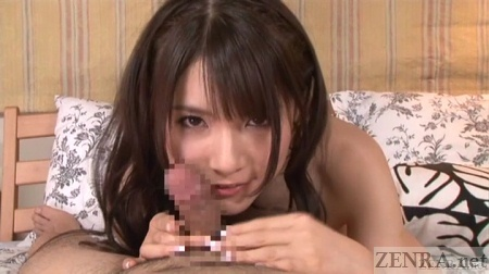 Japanese AV star Rui Saotome nuzzles erection