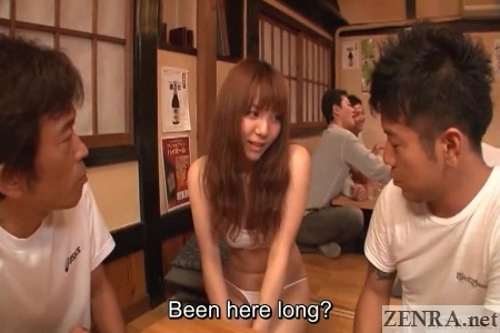 String bikini shy Japanese waitress