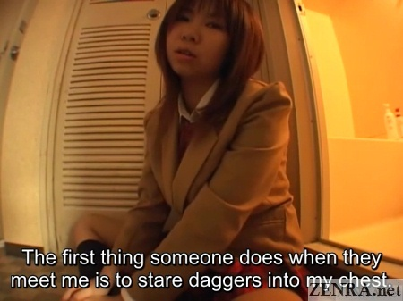Japanese schoolgirl worries about chest