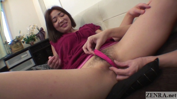 Embarrassed spread hairy Japanese wife