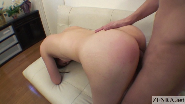 Japanese wife with butt in air for rear sex