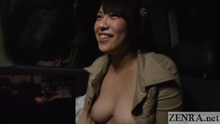 Yuri Satou flashes big breasts in car