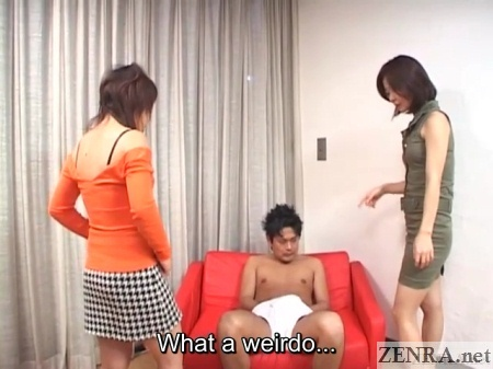 Clothed women confront man in underwear