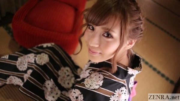 Yukata clad Anna Anjou warm lighting