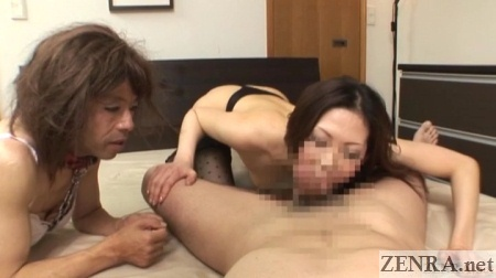 Japanese blowjob while slave in drag watches