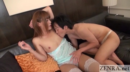 Aroused cross-dressing foreplay in sheer lingerie