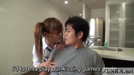 Naughty kissing games with Kaoru Oshima