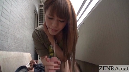 POV saliva dripping out of cross-dresser mouth