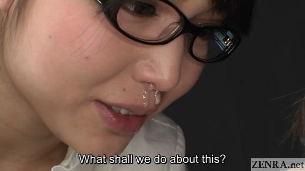 Runny nose on Shino Aoi