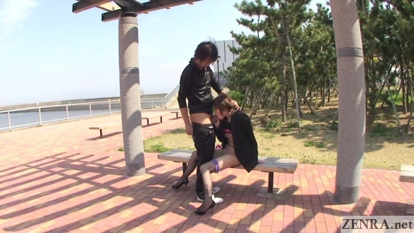 Public uncensored Japanese blowjob