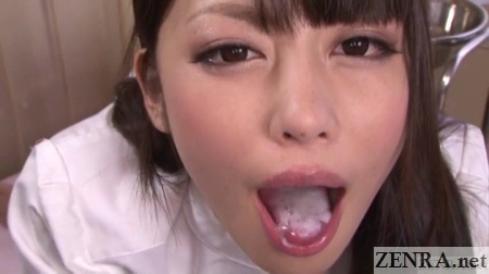 Ayu Sakurai mouth full of semen at hospital