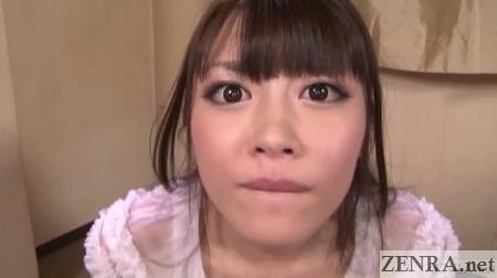 Surprised wide eyed Ayu Sakurai