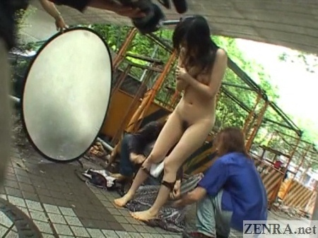 Japanese woman stripped in public