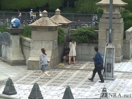 Outdoor Japanese masturbation in town square
