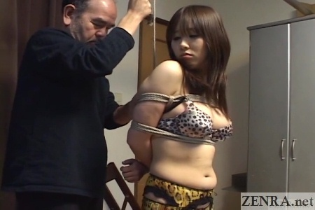 Japanese woman in lingerie bound