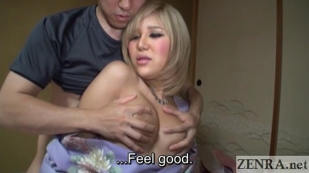 Huge breasts on fondled gyaru newhalf