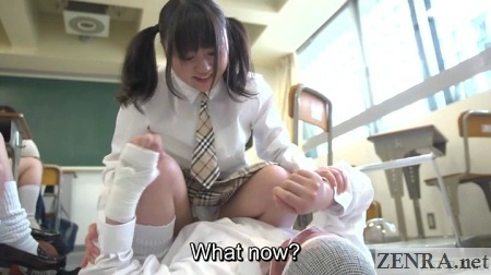 Japanese schoolgirl sits on male classmate