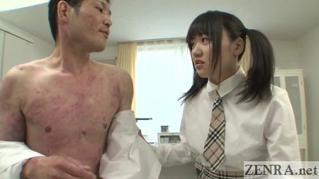 Half naked male classmate with angry schoolgirl