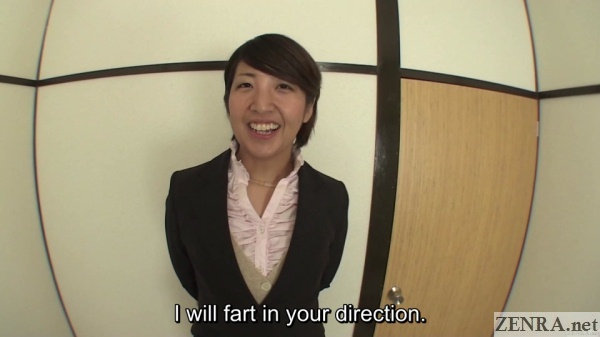 Japanese office lady prepares to fart