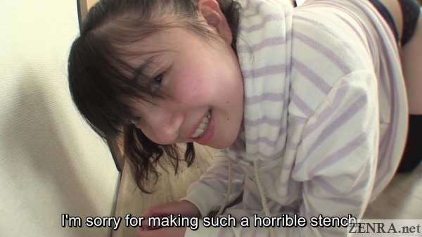 Embarrassed Japanese student apologies about farting