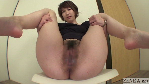 Embarrassed bottomless farting Japanese woman with short hair