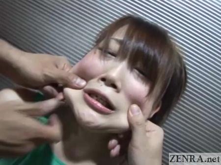 Bizarre Japanese pinching face stretching