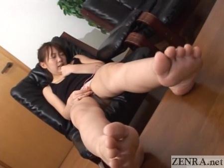 Masturbating Chihiro Hasegawa with legs out