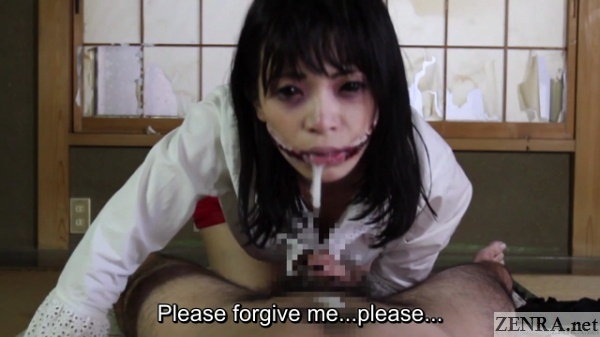Slit mouthed woman POV cum dribbling from chin