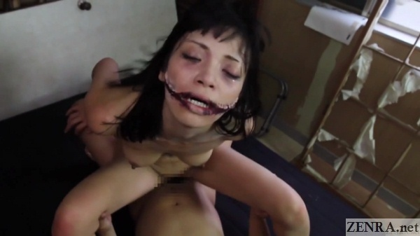 Cowgirl sex with slit mouthed woman