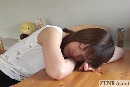 Hiyori Shiraishi resting in ripped up shirt