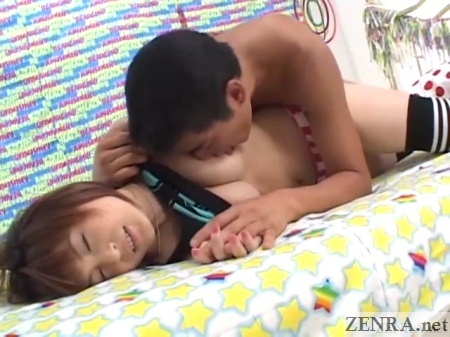 Nipple licking busty Japanese foreplay