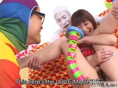 Huge massager for Japanese woman