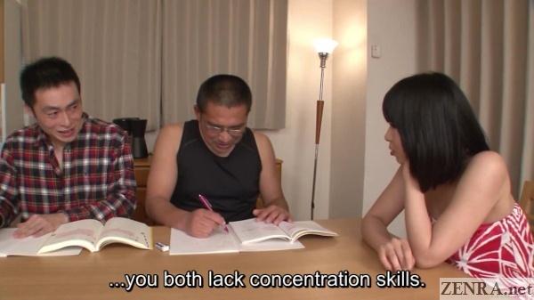 Sleeveless shirt Japanese tutor with old students