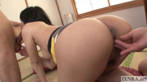 Mikan Kururugi fingered from behind during blowjob