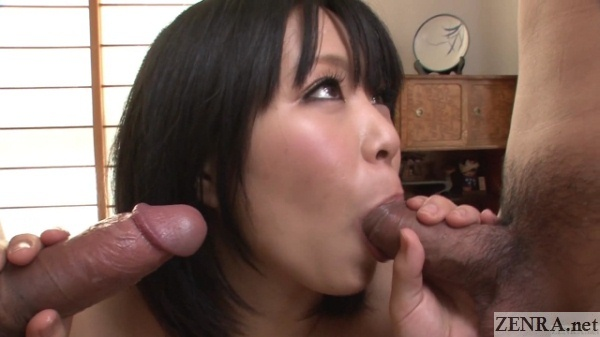 Japanese double blowjob threesome