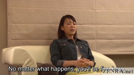 Life coach with Japanese woman in hotel