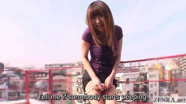 Embarrassed Jun Kusanagi takes off panties outside