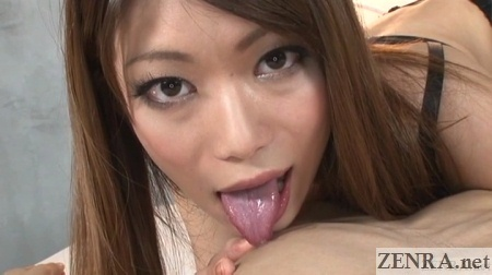 POV Japanese nipple licking foreplay