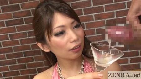 CFNM cumshot into glass for gokkun
