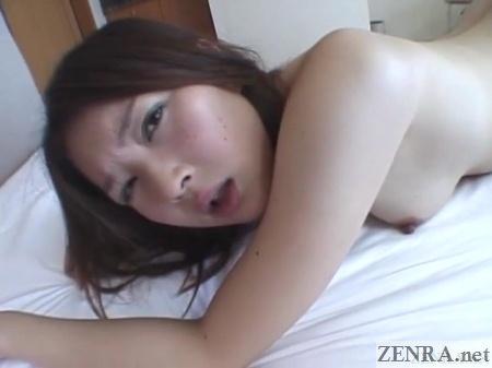 Flushed Akira Watase sex on bed