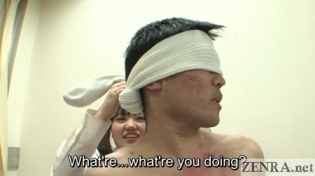 Blindfolded naked male classmate in Japan