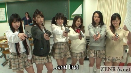 Japanese schoolgirls locked and loaded